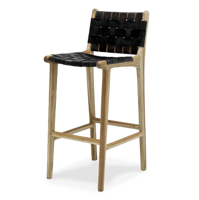 Brilliant Woven Leather Bar Stool 73Cm High From Green With Envy Squirreltailoven Fun Painted Chair Ideas Images Squirreltailovenorg