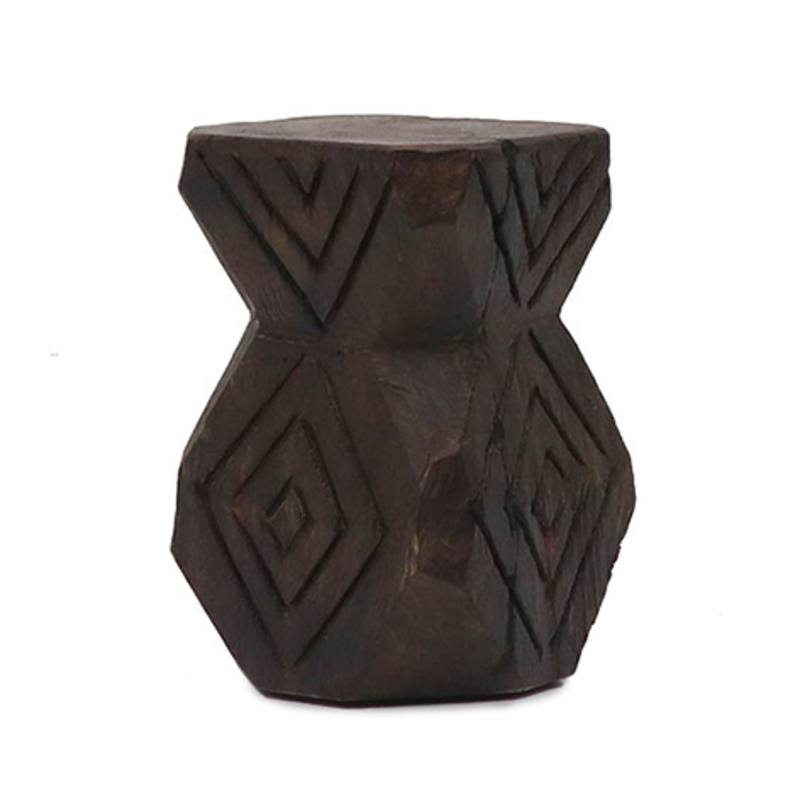 Volio carved wooden stool