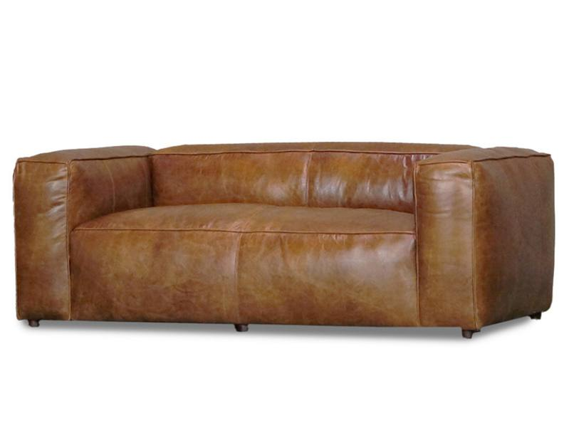 Aged leather yale 2-seater sofa