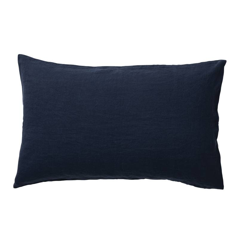 Pair of linen pillowcases navy
