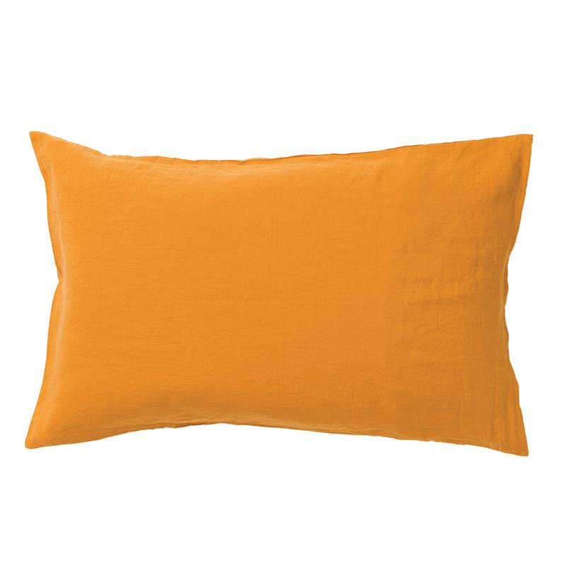 Pair of linen pillowcases pumpkin