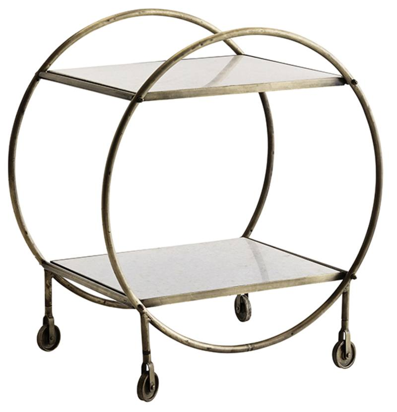 Antique brass drinks trolley