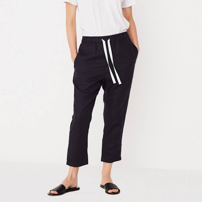 Assembly Label Anya drawstring linen pants navy