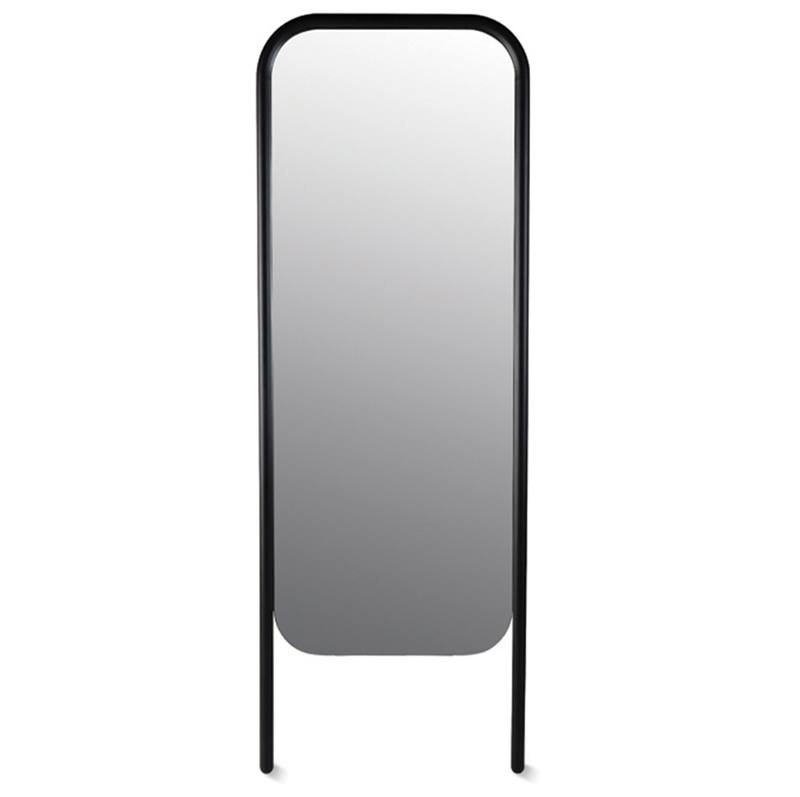 Oak free standing mirror black