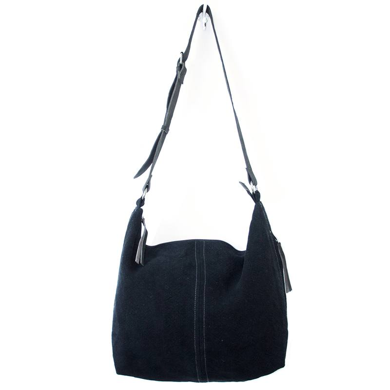Juju & Co jute slouchy bag black