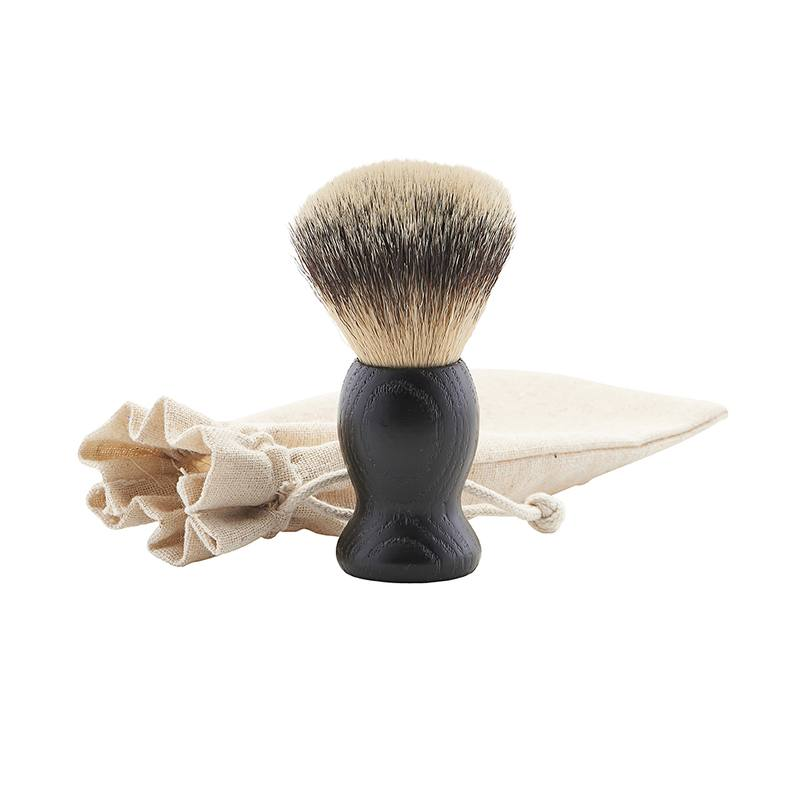 Shaving brush with wooden handle