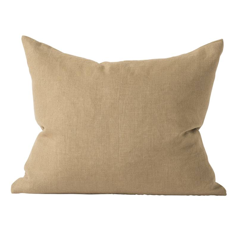 Linen cushion cover rect olive