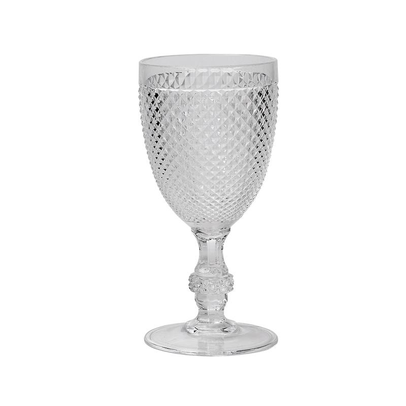 Diamond cut acrylic wine glass