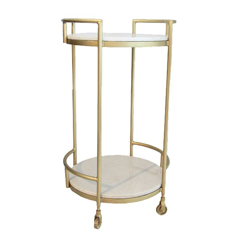 Round marble drinks trolley