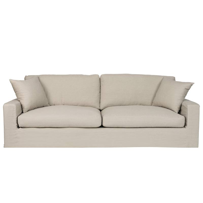 Slip Cover Feather Filled Linen Sofa