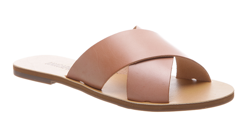 Flat cross leather sandal rosa
