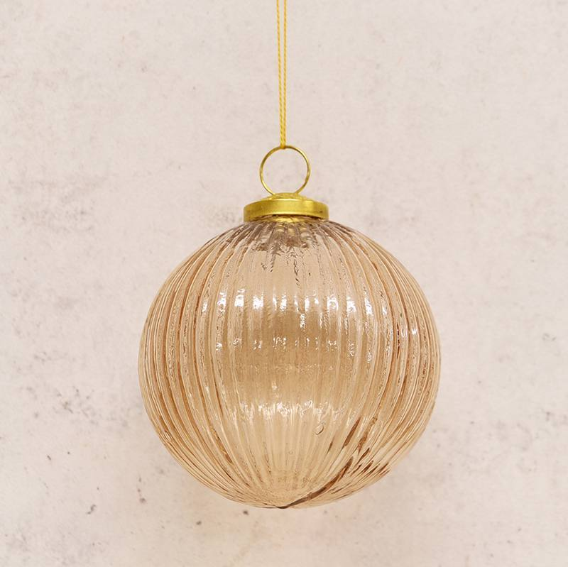 Hanging glass bauble rose gold