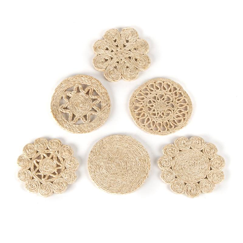 Woven jute coasters set of 6
