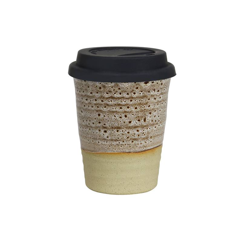 Reusable ceramic cup large white ochre