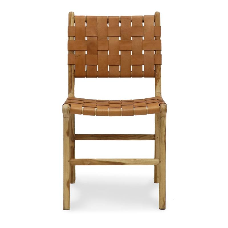 Woven leather dining chair tan