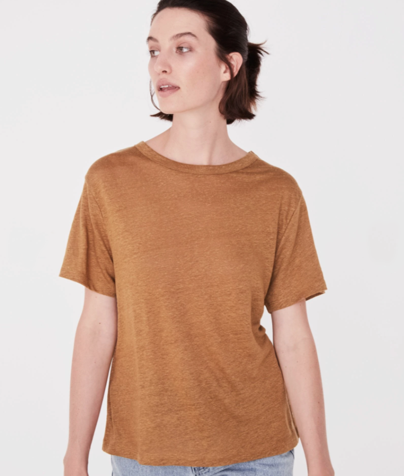 Assembly Label linen tee sepia
