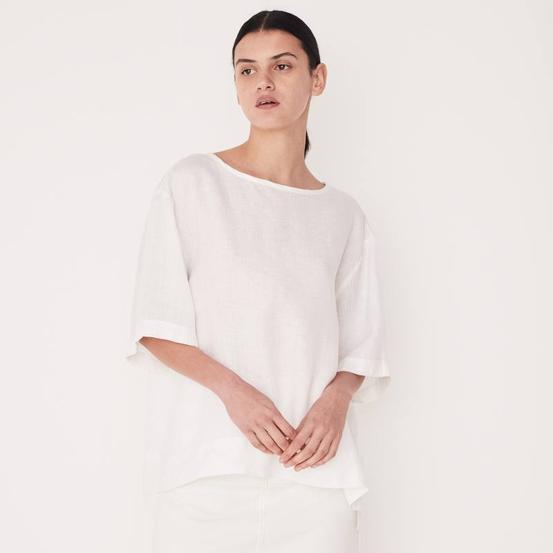 Assembly Label boxy linen top