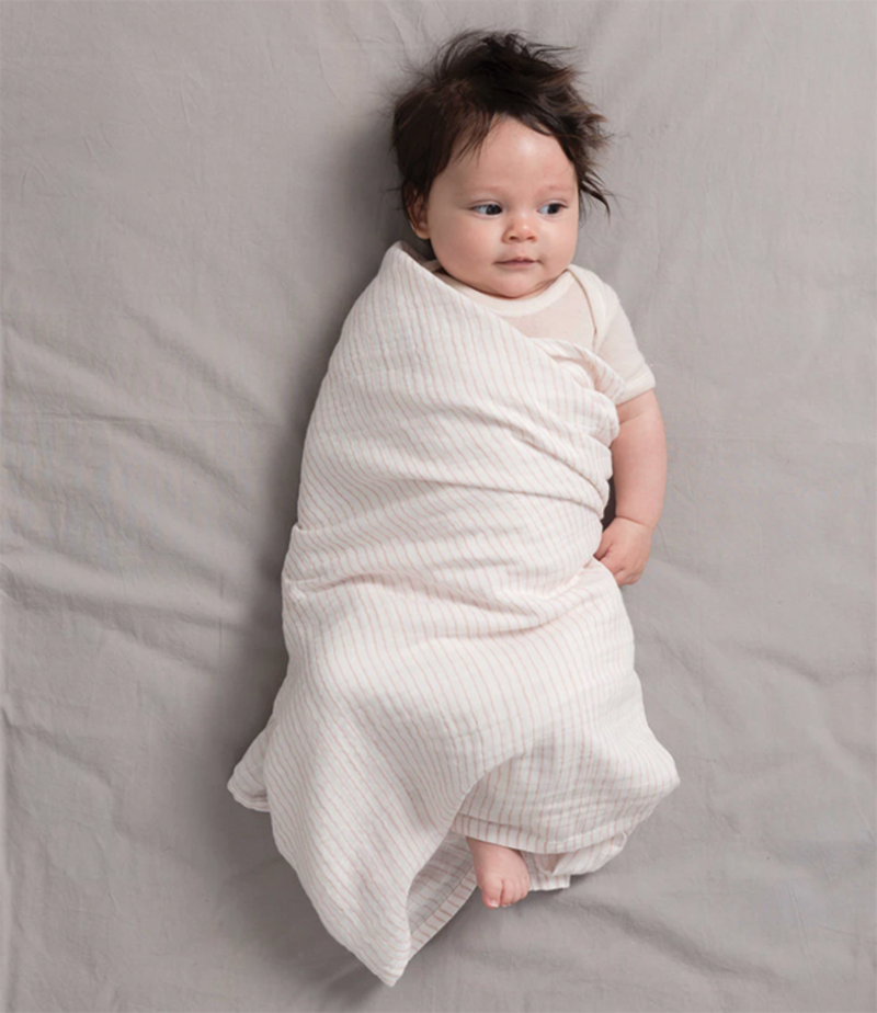 Baby Organic Cotton Muslin Wrap In Nz Green With Envy