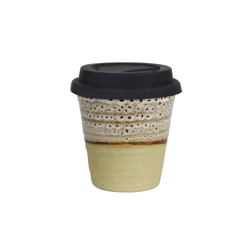 Reusable ceramic cup white ochre