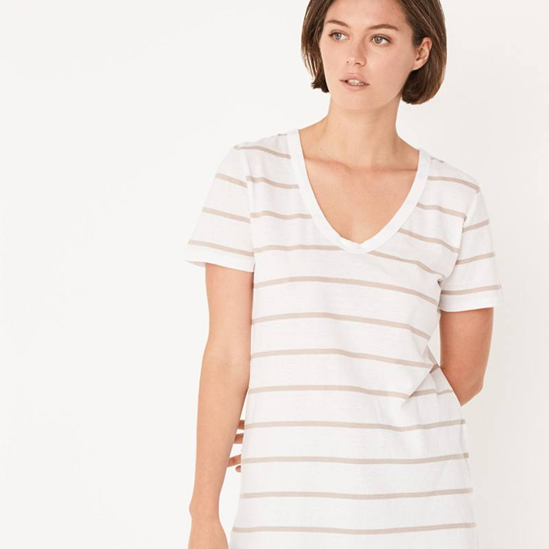 Assembly Label soft V tee taupe stripe