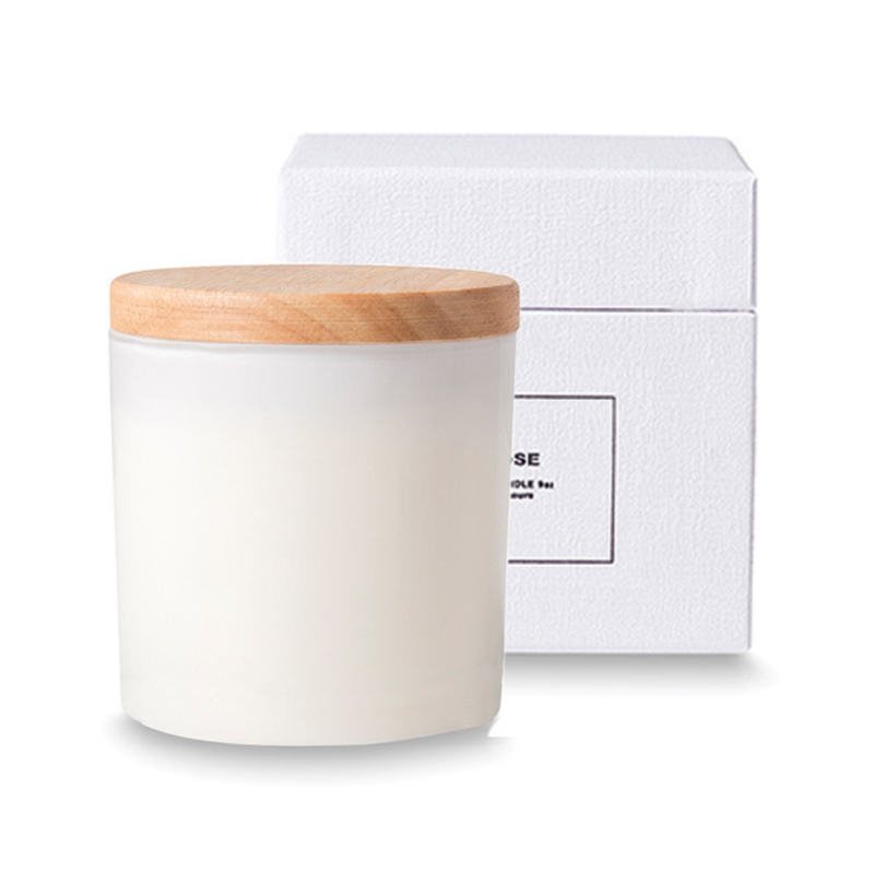 Soy candle with wooden lid - rose