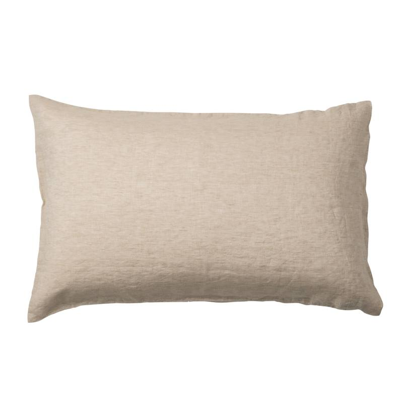 Pair of linen chambray pillowcases oatmeal