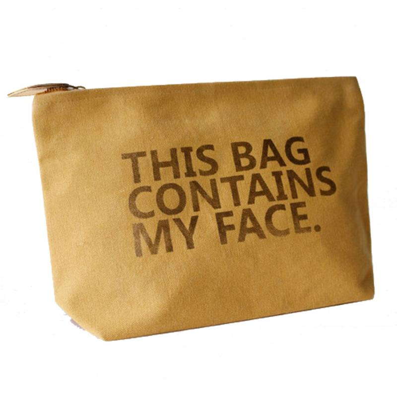 'Contains my face' wash bag