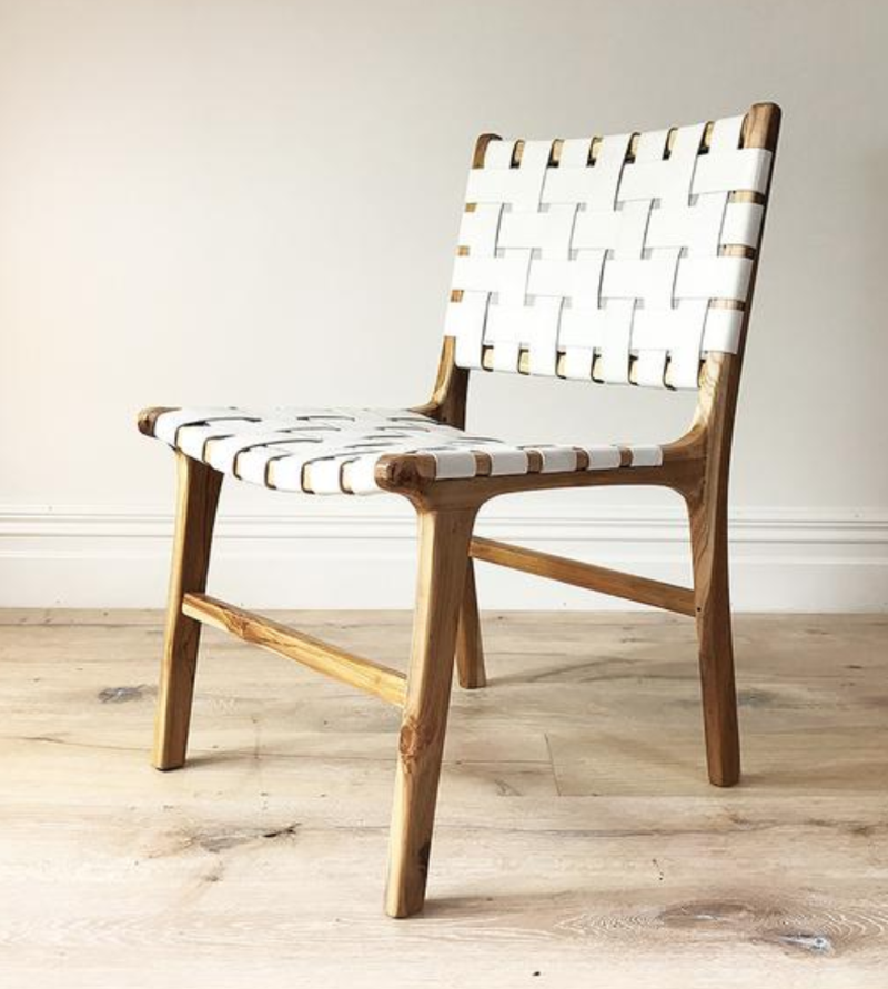Woven Leather Dining Chair Natural Frame