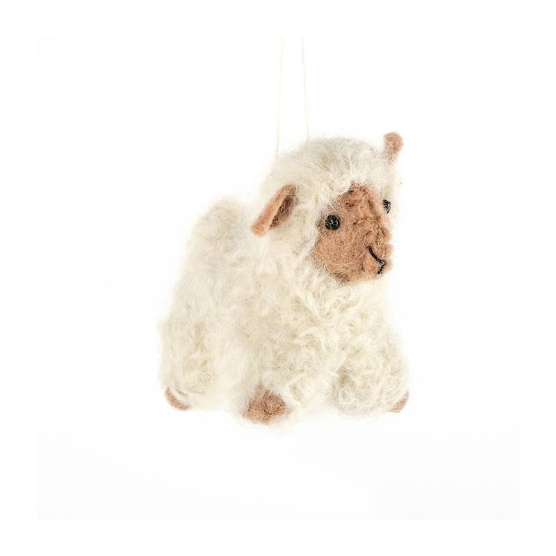 Wool & felt hanging sheep