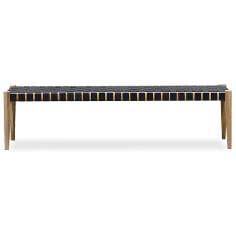 Astonishing Woven Leather Bench Seat 180Cm From Green With Envy Machost Co Dining Chair Design Ideas Machostcouk
