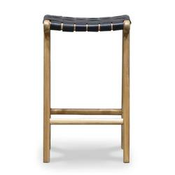 Woven leather counter stool 65cm high