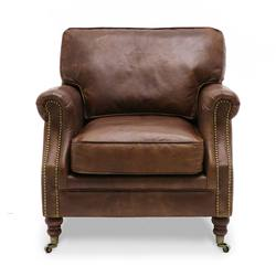 Princeton aged leather armchair aged brown