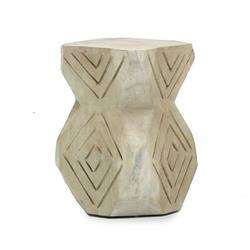 Buy Volio carved stool white wash in NZ New Zealand.