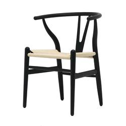 Buy Wishbone chair black with natural seat in NZ New Zealand.