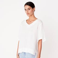 Assembly Label deep V linen top white