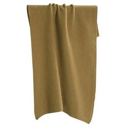 Knitted hand towel ochre