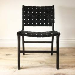 Buy Woven leather dining chair black wash frame in NZ New Zealand.