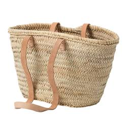 Buy Moroccan tote basket with leather straps in NZ New Zealand.