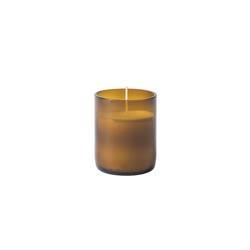 Recycled glass candle amber