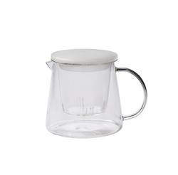 Glass teapot with frosted lid