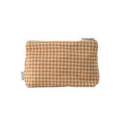 Gingham cosmetic bag