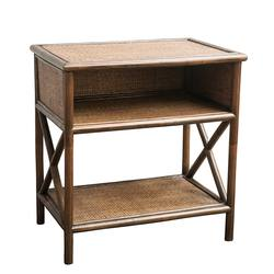 Rattan bedside table brown wash