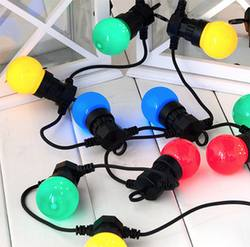 Outdoor festoon lights coloured