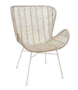 Rattan wing chair whitewash