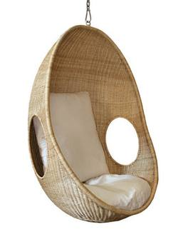 Rattan hanging chair with cushion