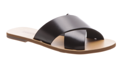 Buy Flat cross leather sandal black in NZ New Zealand.
