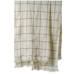 Grid patterned linen throw