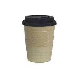 Reusable ceramic cup large clear glaze