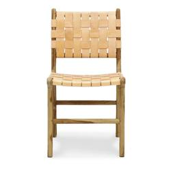 Woven leather dining chair nude