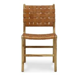 Buy Woven leather dining chair tan in NZ New Zealand.